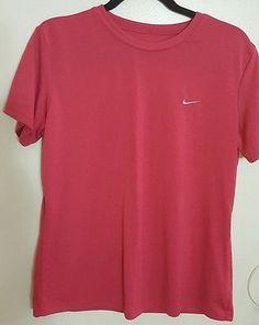 Women's Nike FitDry Shirt: Pink: Grey Nike: Size L: Workout Attire: Workout Gear