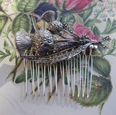 Vintage Marcasite Hair Comb, Silver Tone Scottish Thistle- Wedding, Bridal, Prom Hair Accessories by UniqueHairCombs on Etsy