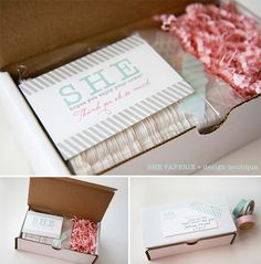 I've been thinking about using this type of box to package our layered programs and various invitations for shipping. Love the little card included as well!