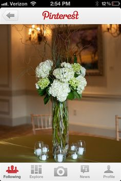 Tall centerpiece hydrangea and curly willow