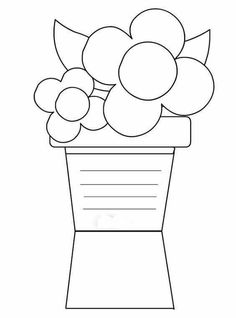 me tuttodisegni files 2012 04 biglietto-vaso-fiori. Mothers Day Coloring Cards, Mothers Day Cards, Adult Coloring Book Pages, Coloring Books, Coloring Pages, Lap Book Templates, Card Templates, Preschool Crafts, Crafts For Kids