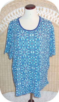 KIM ROGERS Womens Top Plus Size 3X Blue White Print Short Sleeve Cotton #KimRogers #KnitTop #CareerCasual