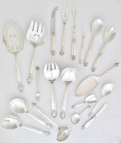 Georg Jensen Sterling Silver Flatware Set for 12 180 pieces $30000+ Value |  sc 1 st  Pinterest & 110 Pc. Sterling Silver Tiffany u0026 Co. Flatware Set Hampton Pattern ...