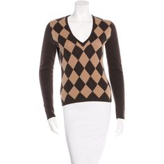 Pre-owned Michael Kors Argyle Cashmere Sweater ($125) ❤ liked on Polyvore featuring tops, sweaters, brown, argyle v neck sweater, cashmere argyle sweater, white long sleeve top, long sleeve v neck sweater and argyle sweater