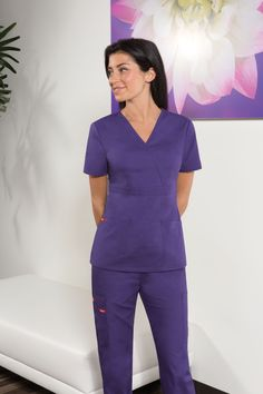 Dickies Medical Scrubs Women/'s Gen Flex Peach Mock Wrap Top Size XXL NWT