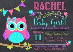 Búho bebé ducha invitación rosa y Teal buho bebé por PrincessSnap