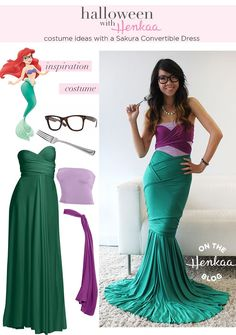 Don't pass up on an adult Halloween party to attend because you don't have a cute costume! I like this Hipster Ariel Costume - Get your Halloween costume inspiration and learn how creative you can get with a convertible dress! Ariel Costumes, Costume Carnaval, Diy Costumes, Costume Ideas, Diy Ariel Costume, Mermaid Costume Top, Homemade Mermaid Costumes, Awesome Costumes, Mermaid Outfit