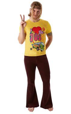 I Love 70 -t-paita. Miesten I Love 70 -paita ei nyt varsinaisesti ole mikään naamiaisasu, sillä hippimäinen t-paita sopii käytettäväksi vaikka ihan joka päivä. Auringonkeltaisella paidalla voi osoittaa rakkauttaan tuota ihanaa vuosikymmentä kohtaan ja järjestää vaikka ikioman 70´s Shown.