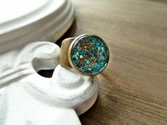 """Ring """"Star Dust"""" Made of Glass/ Turquoise/ Bronze"""