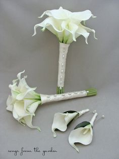Real Touch Calla Lily Bridesmaids Bouquets White Ivory - Choose Your Wedding Colors for a Custom Wedding Flower Package