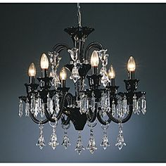 @Overstock - Add a sleek, modern touch to your home decor with this beautiful Karlin Black Glass and Lead Crystal Chandelier. This light fixture features a black glass construction and hanging lead crystal accents.http://www.overstock.com/Home-Garden/Karlin-Black-Glass-6-light-Chandelier/6614018/product.html?CID=214117 $914.99