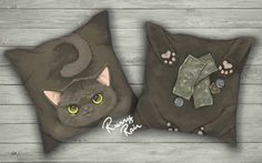 Fortune Cat Pillow w/ stuffing 18 x 18 by RunnyRain on Etsy
