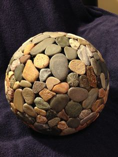 Items similar to (basketball size) rock sphere on Etsy Stone Crafts, Rock Crafts, Diy And Crafts, Arts And Crafts, Garden Spheres, Rock Tumbling, Garden Globes, Globe Art, Pebble Art