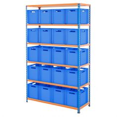 BiG340 1220mm Wide Shelving Kit With Blue Euro Boxes