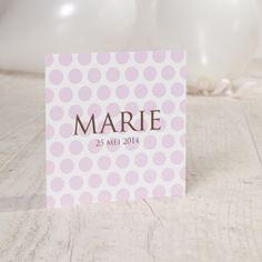 Lieve bolletjeskaart | Tadaaz #communie #lentefeest #uitnodiging #aandenken #roze #bolletjes #meisje #zonderfoto www.tadaaz.be