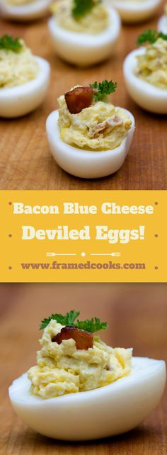 Add some bacon and blue cheese to your next batch of deviled eggs to make them positively heavenly! Bacon blue cheese deviled eggs - the best! Bacon Deviled Eggs, Deviled Eggs Recipe, Bhg Recipes, Dessert Recipes, Charcuterie And Cheese Board, Stuffed Hot Peppers, Blue Cheese, Food Print, Favorite Recipes