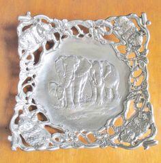"ARTHUR COURT 1997 Silver Metal Elephant Bowl Leopards Jungle Trees 11.5"" x11.5""  #ArthurCourt"