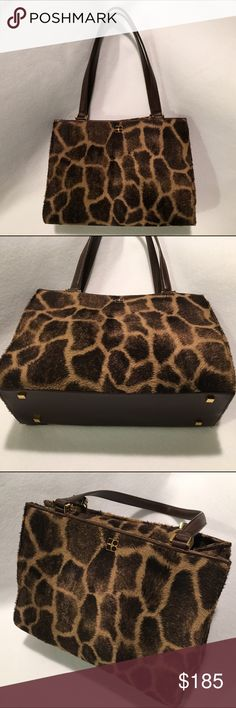 "Kate Spade Giraffe Print Handbag PERFECT Condition Kate Spade giraffe print bag. Brown leather handles. Gold feet in bottom. Tan suede leather interior with zippered pocket & Leather Kate Spade emblem. Measures approx: 12"" x 9"" x 4"" with a strap drop of about 9 inches. Magnetic top flap closure with ""Kate Spade"" engraved on gold magnetic button. Perfect condition!!! Beautiful purse!!! kate spade Bags Totes"