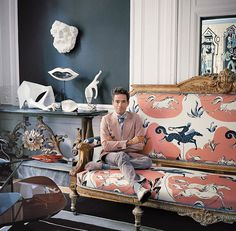 @vincent_darre in the living room of his Paris apartment, on an 18th-century couch upholstered in fabric from his collection for @lamaisonpierrefrey. Jealous? Photo by François Halard.