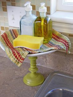 Use a cake stand for an elevated soap dish --> http://www.hgtv.com/decorating-basics/clever-uses-for-everyday-items-in-the-kitchen/pictures/page-7.html?soc=pinterest