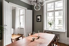 Just look at this magnificent olive shade of the walls of a spacious apartment in Stockholm - the color fits perfectly into the modern classic design of ✌Pufikhomes - source of home inspiration Best Interior, Interior Design, Modern Classic, Scandinavian Design, Stockholm, Sweet Home, Dining Table, Space, Color