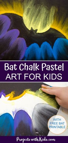 Spooky Bat Chalk Pastel Art Project for Kids This bat chalk pastel art is a fun and easy Halloween project idea that kids will love! Use just a few simple supplies and an easy chalk pastel technique that kids of all ages can do. Halloween Art Projects, Halloween Arts And Crafts, Halloween Activities For Kids, Art Activities, Projects For Kids, Project Projects, Holiday Crafts, Chalk Pastel Art, Chalk Pastels