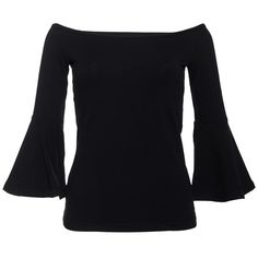 FRS Black Off the Shoulder Ruffled Sleeved Top ❤ liked on Polyvore featuring tops, shirts, 3/4 length sleeve shirts, ruffle sleeve top, cotton shirts, three quarter sleeve shirts and off the shoulder shirts