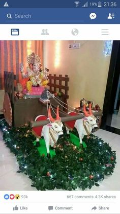 decoration ideas for ganesh utsav Ganpati Decoration Theme, Gauri Decoration, Ganapati Decoration, Diwali Decorations, Festival Decorations, Ceremony Decorations, Ganesh Chaturthi Decoration, Janmashtami Decoration, Ganesha Pictures