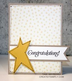 Patterned paper background or background stamp. Wonky Star and Congratulations - great for a baby card.