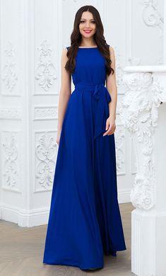 Cobalt blue maxi dress Long blue dress Dress with  от Annaclothing