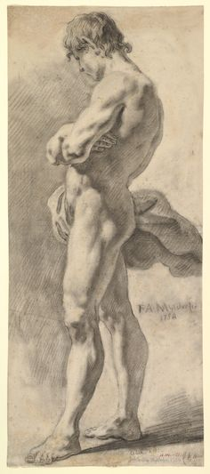 'Standing Male Nude' by Franz August Myldorfer  (Austrian, active ca. 1750)