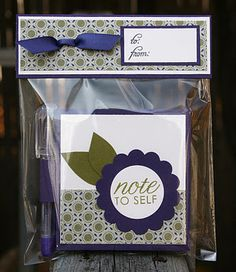 Post It Note holder and Pen set made with PTI Take Note Stamp set and Tag-Its #9