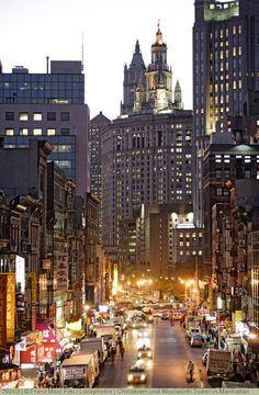 Chinatown und Woolworth Tower in Manhattan