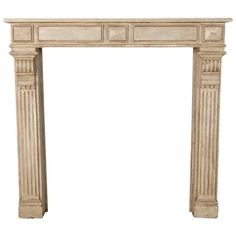 French Wood Fireplace Mantel with Gray Paint | From a unique collection of antique and modern fireplaces and mantels at http://www.1stdibs.com/furniture/building-garden/fireplaces-mantels/
