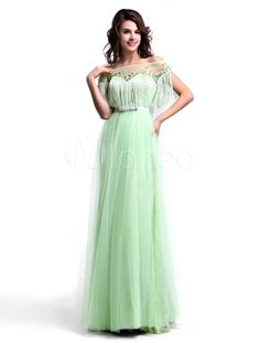 Sage Bateau Neck Floor Length Tassel A-line Grace Prom Dress - Get unbeatable discounts up to 70% Off at Milanoo using Coupon & Promo Codes