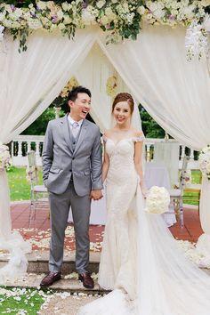 Andy and Wan Ting's Purple-Tinged Singapore Wedding Galia Lahav Wedding Gowns, Wedding Dresses, Outdoor Wedding Gazebo, Singapore Garden, Ballroom Wedding, Mermaid Gown, Portrait Shots, Couple Portraits, Wedding Photoshoot