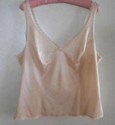 """Cream camisole lingerie cream cami top beige camisole beige cami large 38"""""""