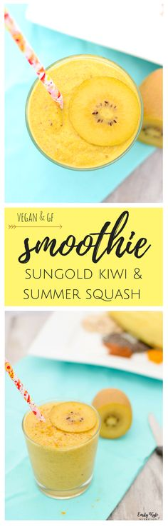 This creamy and delicious Sungold Summer Squash Smoothie is naturally vegan, gluten-free and packed with antioxidants to help you glow from the inside out! via @EmKyleNutrition