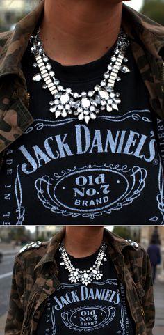 LE FASHION BLOG BE FRASSY JEWELED STUDDEDCAMO JACKET CHUNKY JEWELED NECKLACE VINTAGE JACK DANIELS TEE TSHIRT