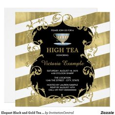 Elegant Black and Gold Tea Party Card