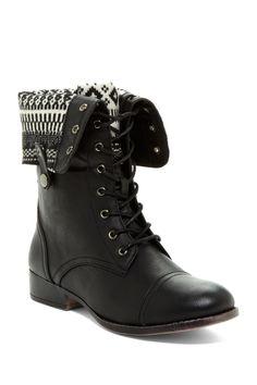 Tribal Contrast Foldover Cuff Boot