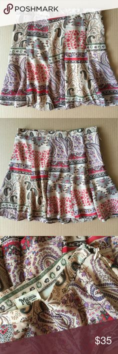 """Show Me Your Mumu """"Skater"""" skirt in paisley print High-waisted mini skirt is made for crop tops & just long enough to wear anywhere. Classic paisley pattern on taupe background can go bare with summer tanks, then later look cozy with chunky scarves & boots. 13 1/2"""" waist, 14 1/2"""" long. Excellent condition, no flaws. Polyester, hand wash. Made in USA  🇺🇸 Show Me Your MuMu Skirts Mini"""