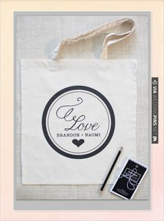 $10 custom tote bags. Change the color and the names and you are sitting pretty.   CHECK OUT MORE IDEAS AT WEDDINGPINS.NET   #weddingfavors