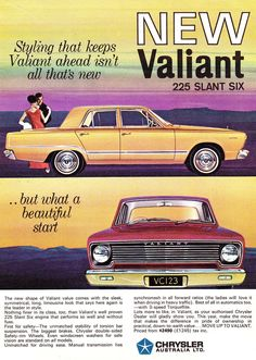 Original Car and Automotive Advertisements Published in Australia in 1966 Australian Vintage, Australian Cars, Retro Cars, Vintage Cars, 1960s Cars, Chrysler Valiant, Plymouth Muscle Cars, Plymouth Valiant, Chrysler New Yorker