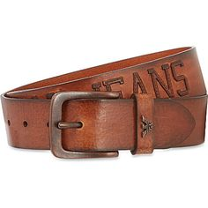 ARMANI JEANS Appliqué logo leather belt (Tan