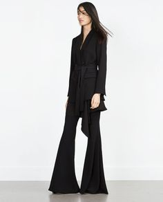 Love this hole look from Zara- especially that long belted blazer