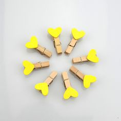 100 Pcs Yellow 35mm Mini Wooden Pegs Photo Clips Hearts Wedding Decoration - Wedding Look