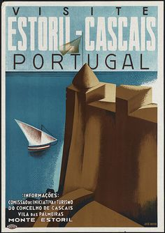 Beautiful vintage travel poster for Estoril-Cascais on the coast of Portugal. Size: x Gender: unisex. Hotel Portugal, Cascais Portugal, Portugal Travel, Visit Portugal, Portugal Tourism, Portugal Vacation, Free Vintage Posters, Vintage Travel Posters, Poster S
