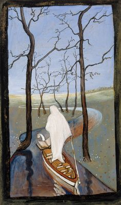 Six of Swords Tarot Card. I dunno but it reminds me of Remedios Varo so i like it. Henri Rousseau, Henri Matisse, Tarot Card Meanings, Chef D Oeuvre, Art Database, Tarot Decks, Les Oeuvres, Painting & Drawing, Decks