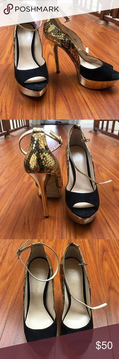 Enzo Angiolini python suede heels Sexy comfy heels. Perfect condition, worn once. Great platform. Python gold details in the back. Suede front. Counteroffer always welcome! Enzo Angiolini Shoes Heels